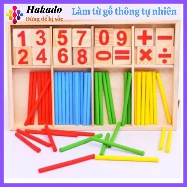 Đồ chơi học toán Bảng que tính gỗ gồm que tính và số