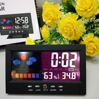 Đồng Hồ 8082T Để Bàn LED LCD Báo Thức Thời Tiết Cảm Biến Âm Thanh Cao Cấp - MÀU ĐEN