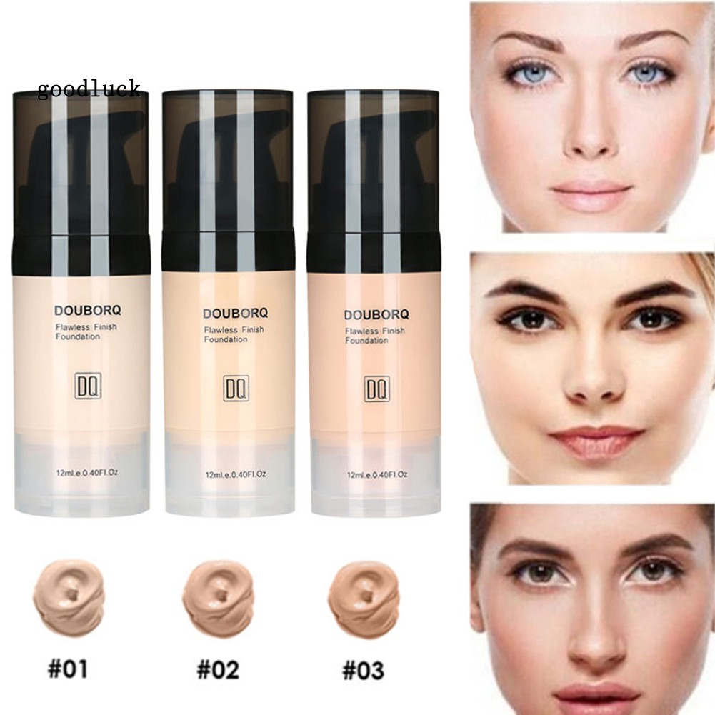 GLK_12ml DouborQ Liquid Foundation Brightening Waterproof Full Cover Face Concealer