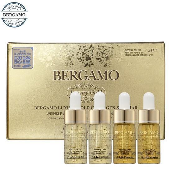 [Chính hãng + Freeship] Set 4 Serum trị mụn - dưỡng trắng - tái tạo da Bergamo Luxury Gold Collagen - 3577929 , 955701264 , 322_955701264 , 280000 , Chinh-hang-Freeship-Set-4-Serum-tri-mun-duong-trang-tai-tao-da-Bergamo-Luxury-Gold-Collagen-322_955701264 , shopee.vn , [Chính hãng + Freeship] Set 4 Serum trị mụn - dưỡng trắng - tái tạo da Bergamo Luxu
