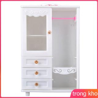 White Plastic Living Room Wardrobe Furniture Drawers Can Be Opened Toy Accessories for Doll House