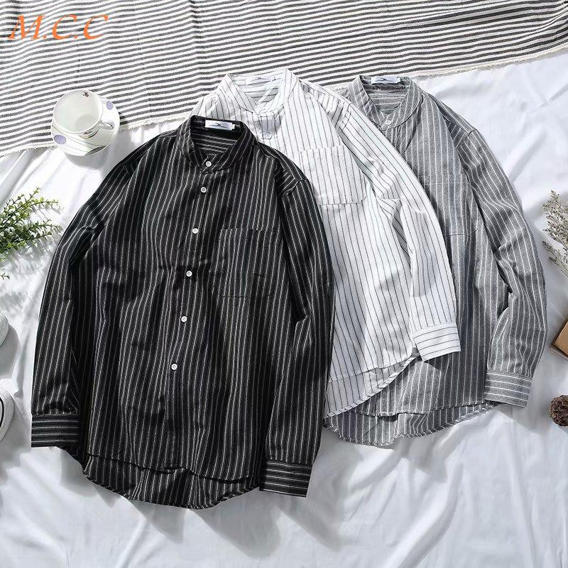 Spring and autumn ins long-sleeved striped shirt male port style street fashion Korean student couple shirt Harajuku loo