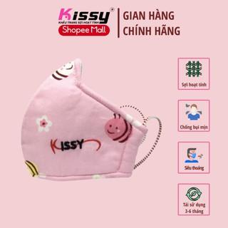 Khẩu trang Kissy trẻ em từ 4 đến 10 tuổi chống bụi mịn, giao đúng mẫu họa tiết ong hồng thumbnail
