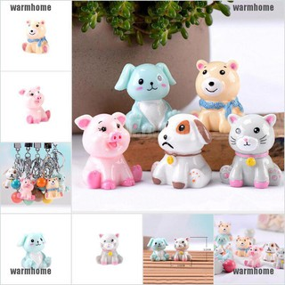 warmhome Cartoon Dog/Cat Ornament Figure Home Car Decor X-mas Gift Resin Cake Accessory thro