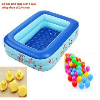 Bể bơi chữ nhật tặng kèm quà 5 bóng và 2 vịt con cho bé