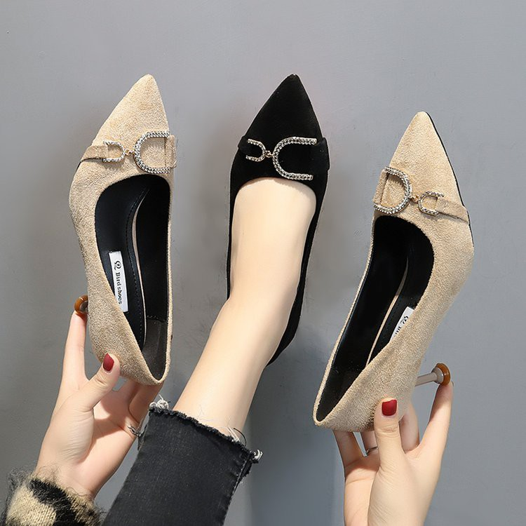 Rhinestone high heel women's fine with wild elegant shallow mouth pointed shoes cats with single shoes