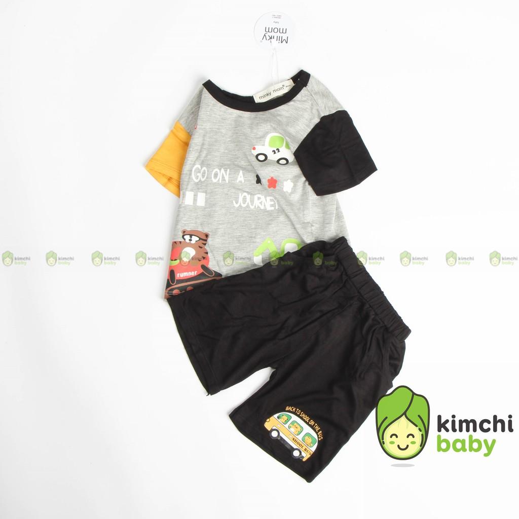 Đồ Bộ Bé Trai Minky Mom Vải Thun Lạnh Họa Tiết Ô Tô Quần Cạp Có Túi, Bộ Cộc Tay Cho Bé Quần Áo Trẻ Em MKM2130