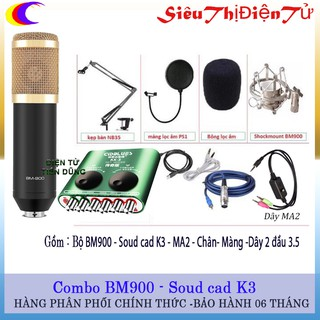 Bộ LIVE STREAM BM900 SOUND CAD K3 CHÂN MA2 MÀNG LỌC- DÒNG MIC THU ÂM BM900 SOUND CARD K3 CHO ÂM THANH TRONG