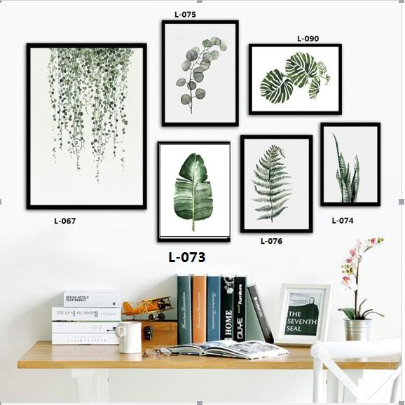 Tranh Canvas Hình Lá Xanh Treo Tường Trang Trí Nội Thất