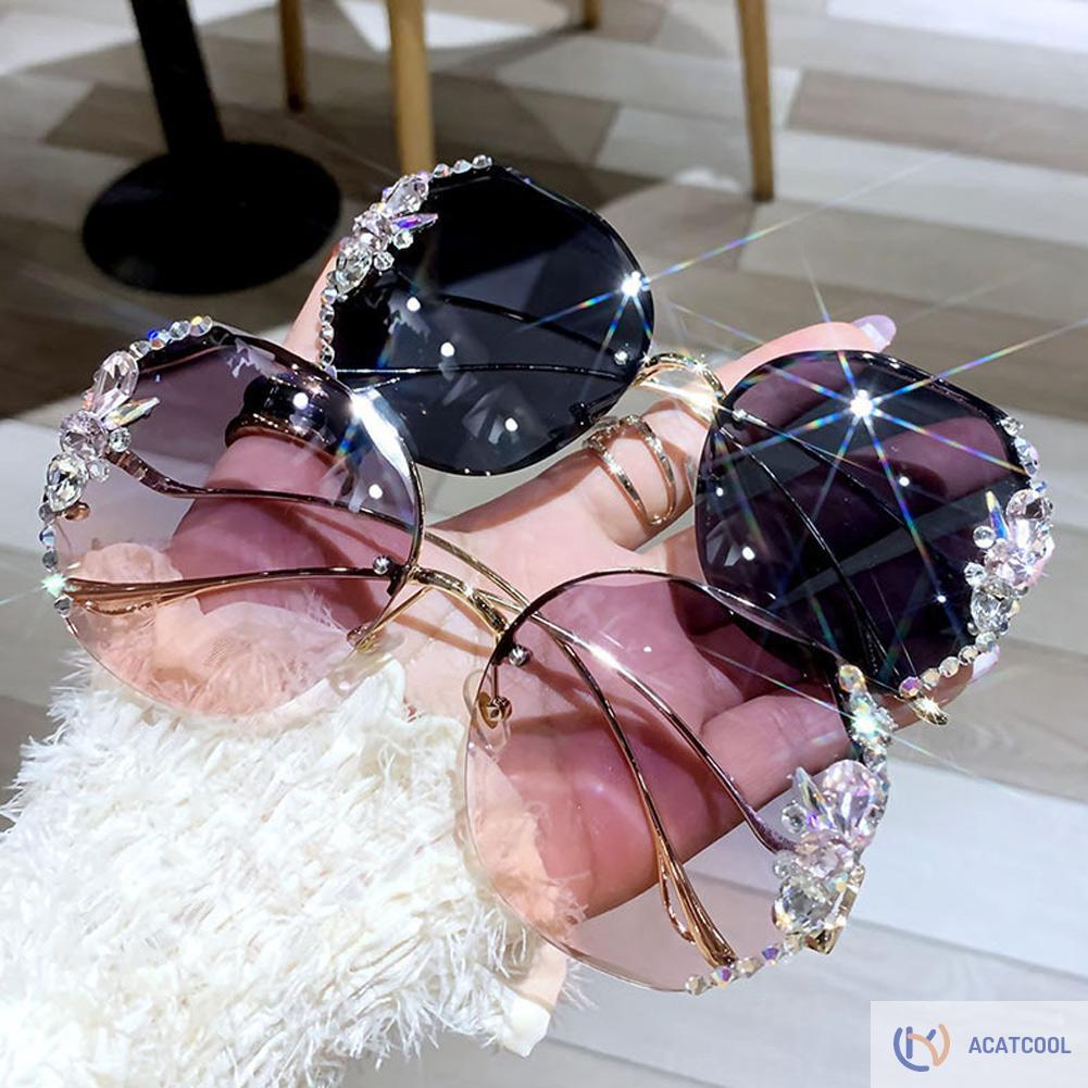 Acatcool Fashion Bling Rhinestone Big Frame Sunglasses Women Diamond Eyeglasses