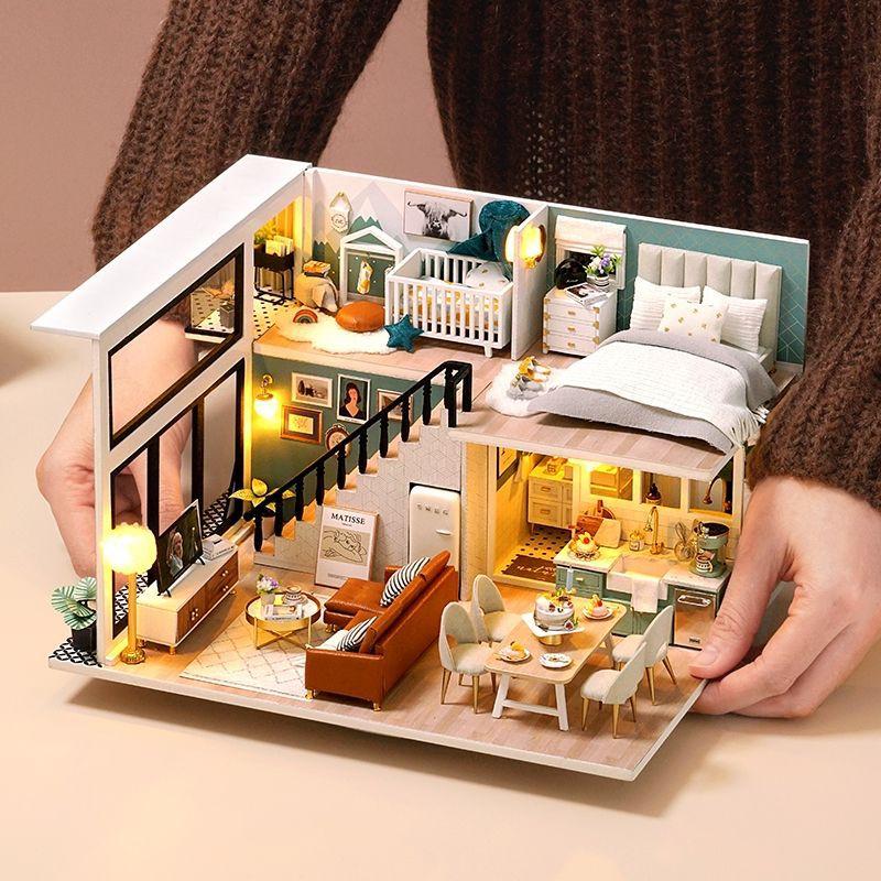Kèm Mica và keo dán gỗ – Mô hình nhà gỗ búp bê Dollhouse DIY – L031 Good Living