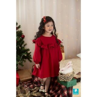 Lamm - Váy thô nhung đỏ vai tròn bèo vai - MERIDA