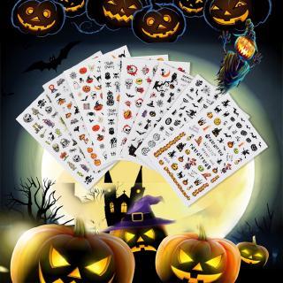 【READY STOCK】Halloween Nail Sticker Skull Bone Clown Tattoo Sliders For Nails Accessories
