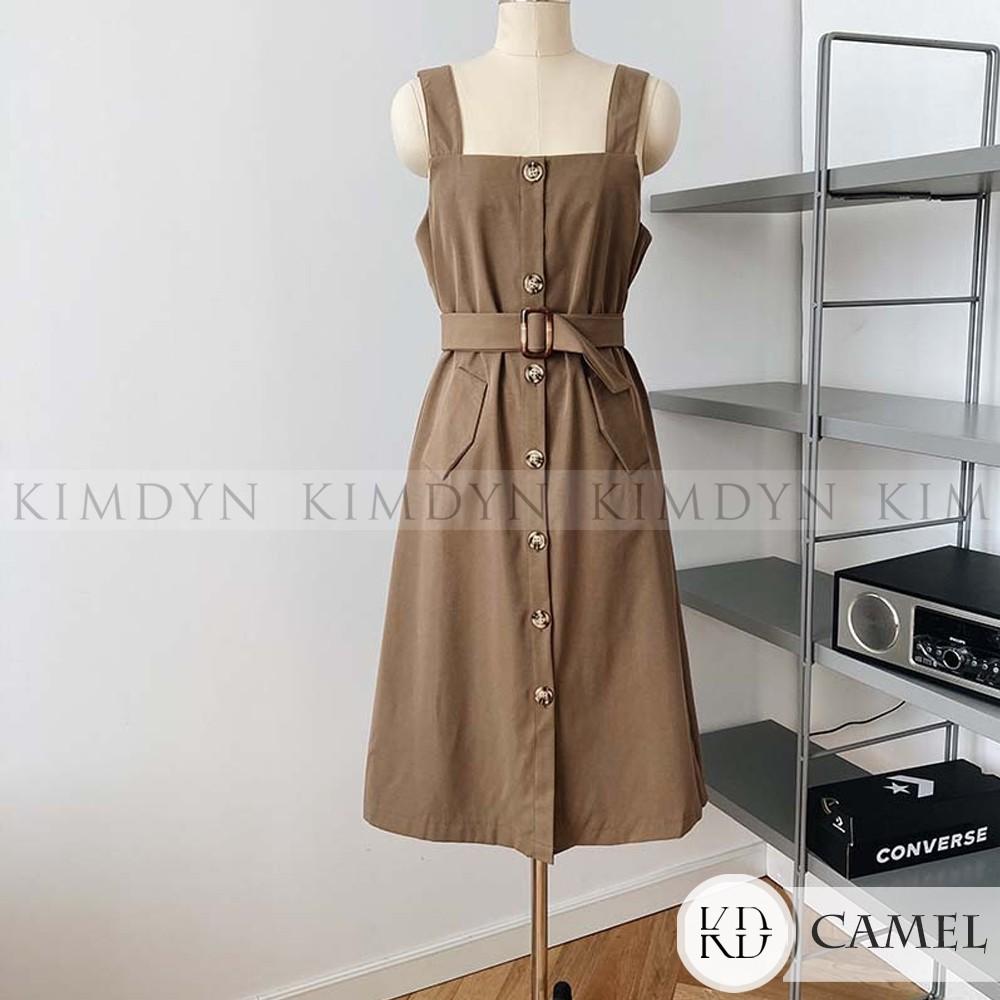 Đầm hai dây bản to thắt eo cotton KimDyn [KDD22]