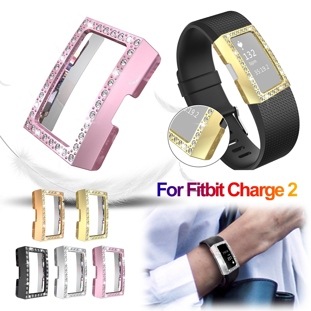 CHINK Luxury Crystal Diamonds Plating Hard PC Case Watch Cover Bumper For Fitbit Charge 2