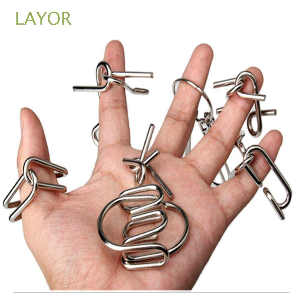 LAYOR 7 Pcs/ Set Top Intelligence Gift IQ Test Toys Metal Wire Chinese Ring Puzzle