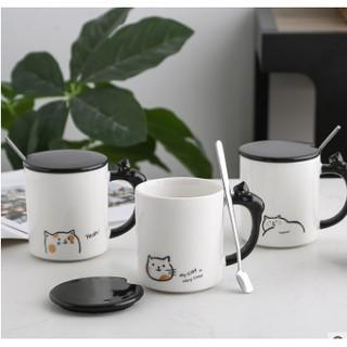Ly cốc sứ mèo đáng yêu có nắp và thìa dung tích 360ml