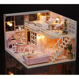 Mô hình nhà búp bê gỗ – biệt thự màu hồng Girlish Dream (có mica che bụi, keo silicone)