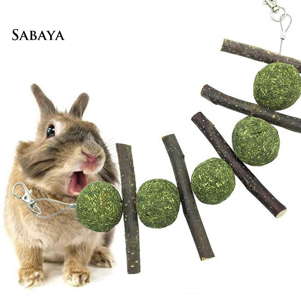 ♝♝♝Teeth Cleaning Molar Snacks Chew Stick Grass Ball Toy for Rabbit Hamster Rat