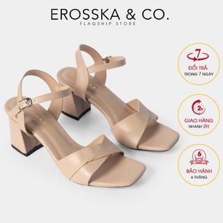 Giày sandal cao gót Erosska mũi vuông quai ngang bắt chéo cao 7cm màu tím - EB020
