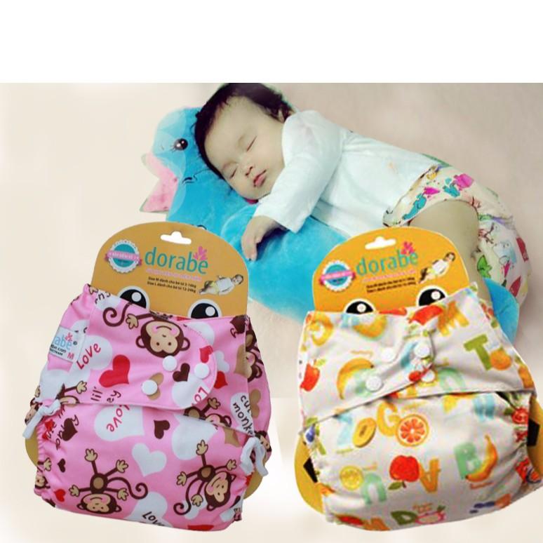 Combo 2 Bộ tã vải Dorabe size L ( 12-24kg ) ban đêm cho bé gái gồm 1 vỏ và 1 lót