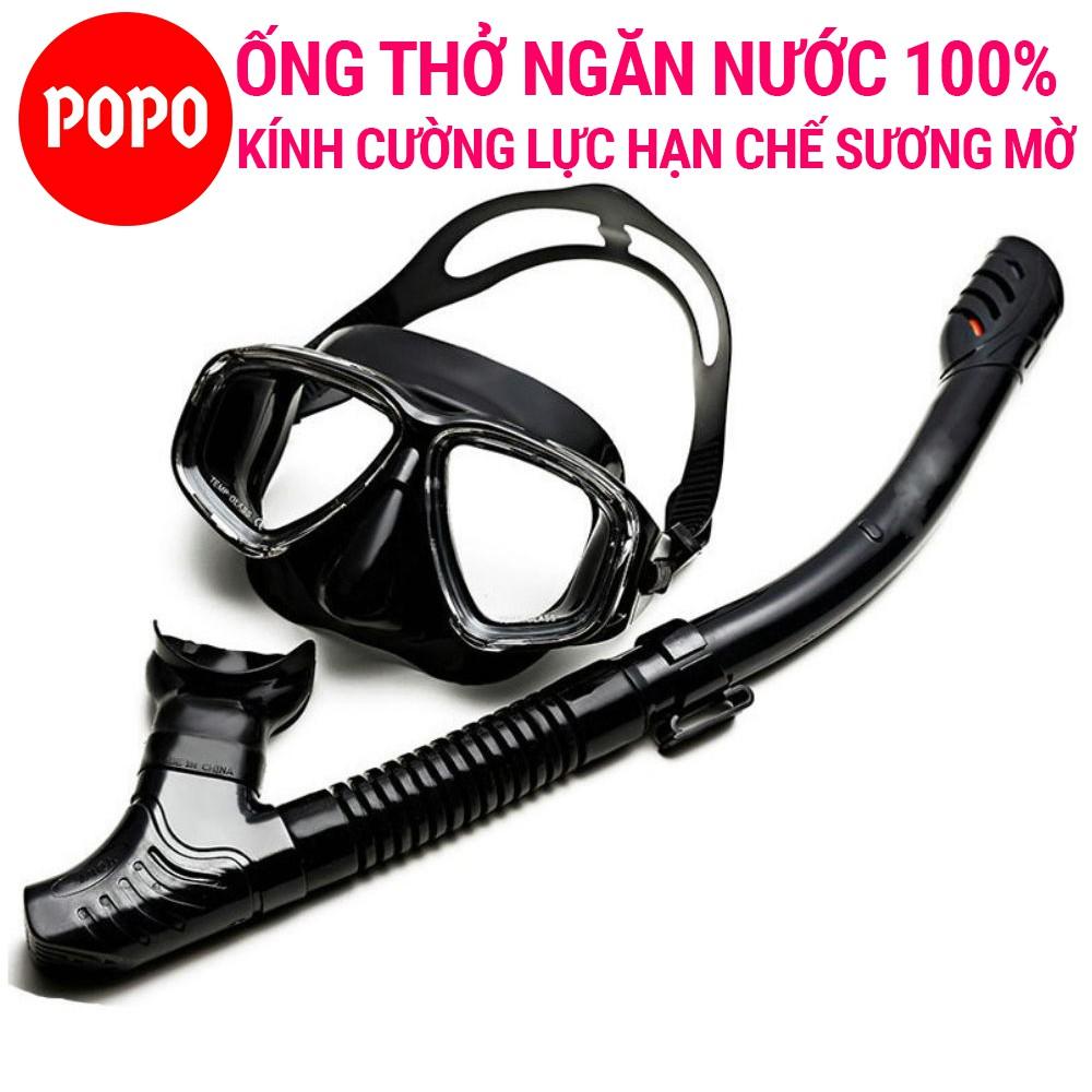 Bộ Kính lặn ống thở POPO mắt kính cường lưc dùng đi lặn biển đảm bảo an toàn, ống thở van 1 chiều ngăn nước