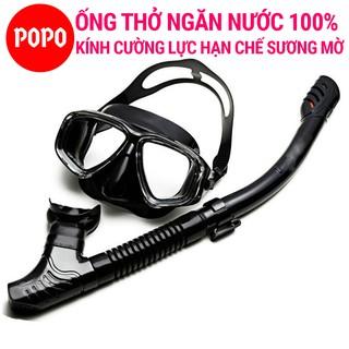 Bộ Kính lặn ống thở POPO SSet mắt kính cường lưc đảm bảo an toàn, ống thở van 1 chiều ngăn nước