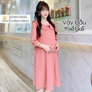 Váy bầu thiết kế 2MAMA dáng suông cổ bèo chất trượt Hàn siêu mềm mại V69 thumbnail