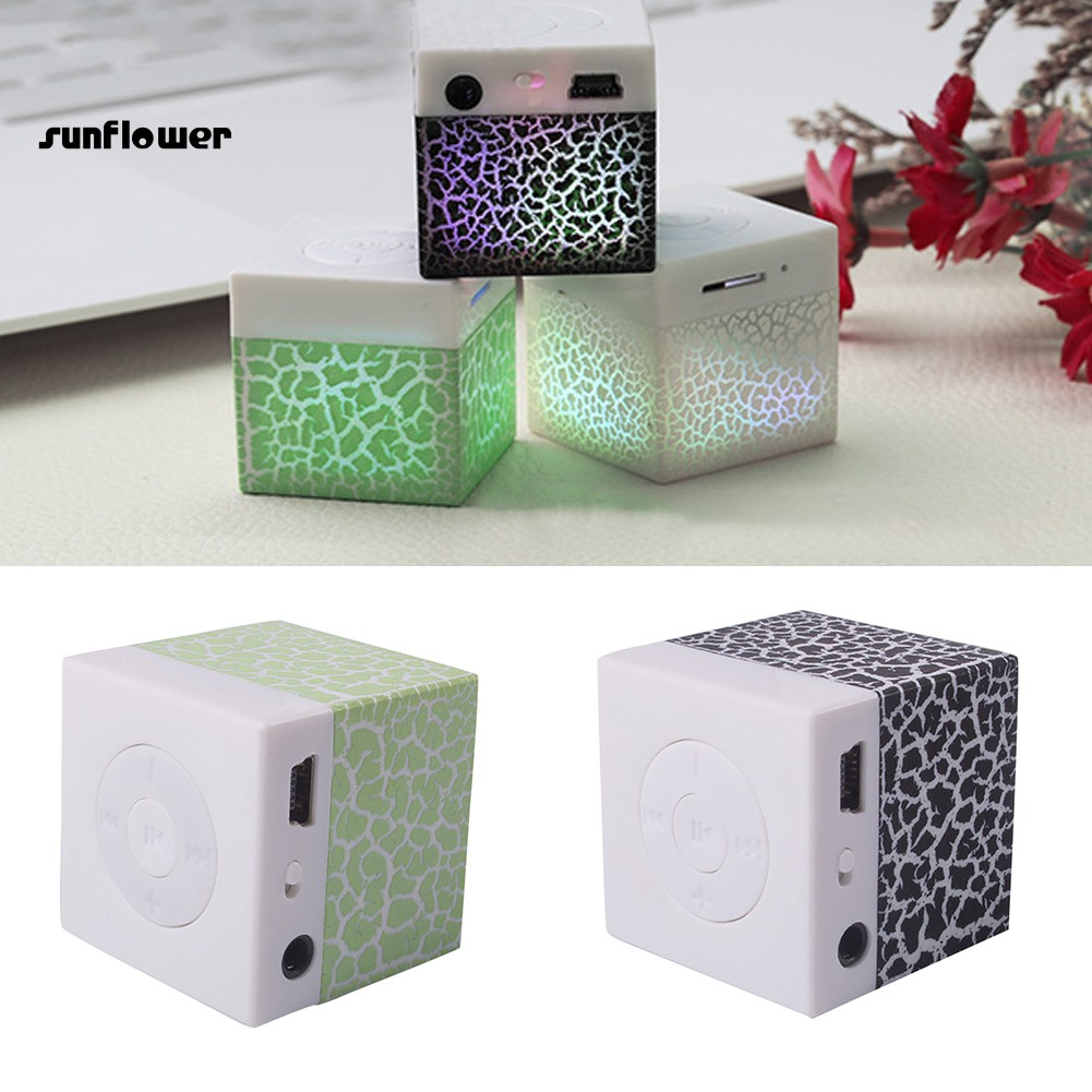 Portable Crackle Print Cubic Mini Speaker LED Colorful TF Card Insert MP3 Player