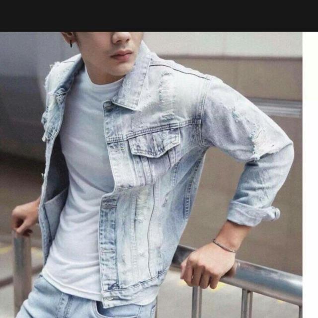 Áo khoác jean nam màu bạc mới - Áo khoác jeans