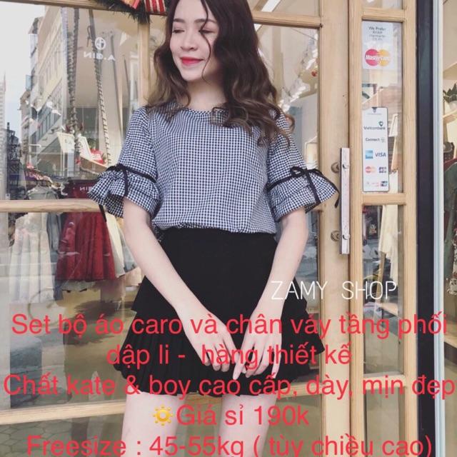 1020416030 - Set áo ca rô và chân váy tầng bao đẹp hàng thiết kế cao cấp