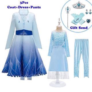 Set 3 Món Quần Dài + Áo Khoác Phong Cách Frozen 2 Xinh Xắn Cho Bé