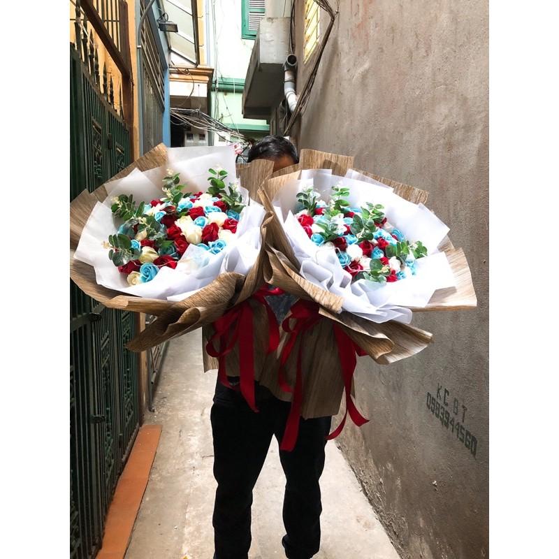 Bó hoa hồng sáp mix hoa lụa siêu to,siêu sang