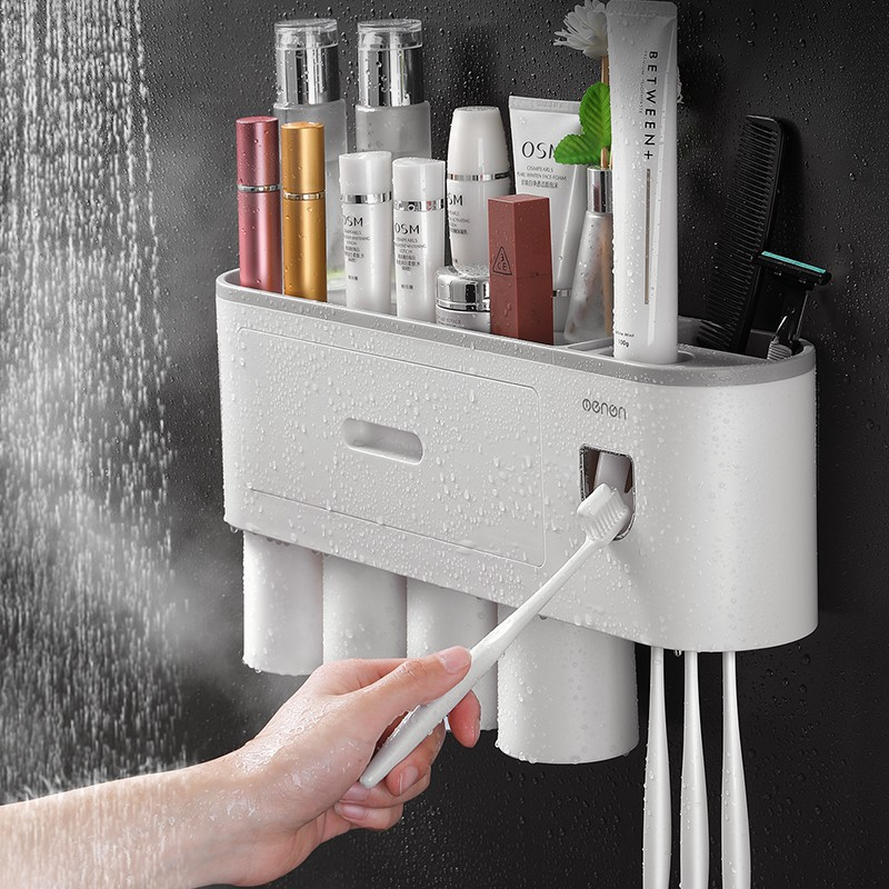 Bộ nhả kem tự động Kệ nhà tắm thông minh oneon kèm 4 cốc nhựa cao cấp