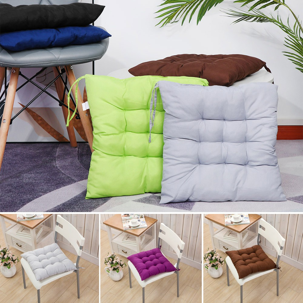 Đệm Lót Ghế Ngồi Hình Vuông Chất Liệu Cotton Dày Dặn Mềm Mại Nhiều Màu Sắc