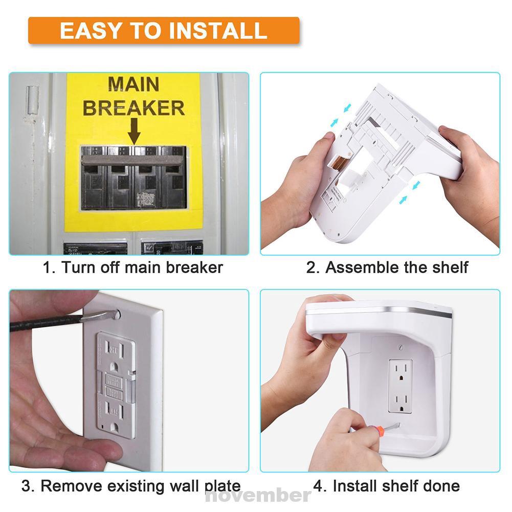 Ổ cắm điện gắn tường đỡ điện thoại khi sạc có đèn LED ánh sáng ban đêm tiết  kiệm không gian cho nhà ở, Giá tháng 11/2020