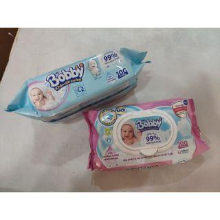 Khăn giấy ướt Bobby loại 100 tờ ( có hương và không hương )