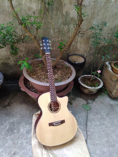 Guitar Acoustic AG14 gỗ tự nhiên hồng đào nguyên tấm tặng phụ kiện