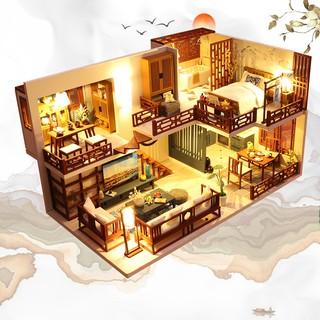 Nhà búp bê tự lắp ráp DIY CHINESE HOUSE bao gồm nội thất, 2 bình keo và đèn LED (Tặng CÓT NHẠC + MICA + dụng cụ keo)