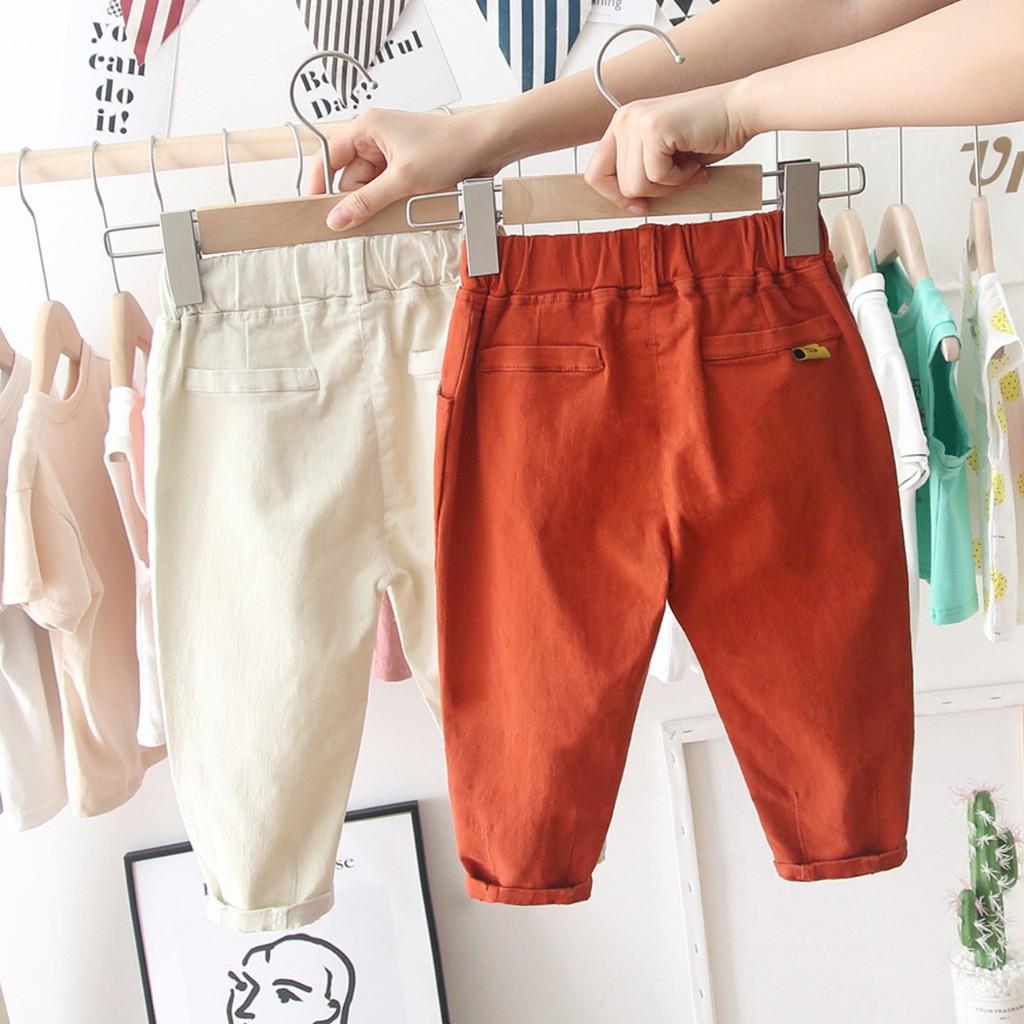 Quần kaki bé trai cạp chun co giãn nhẹ không họa tiết đủ size từ 2 đến 8 tuổi