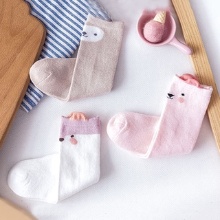 3 Pairs Baby Socks Set For Girls Boys Cartoon Animal Soft Cotton Spring Autumn Cute Knee High Socks For Kids Gift