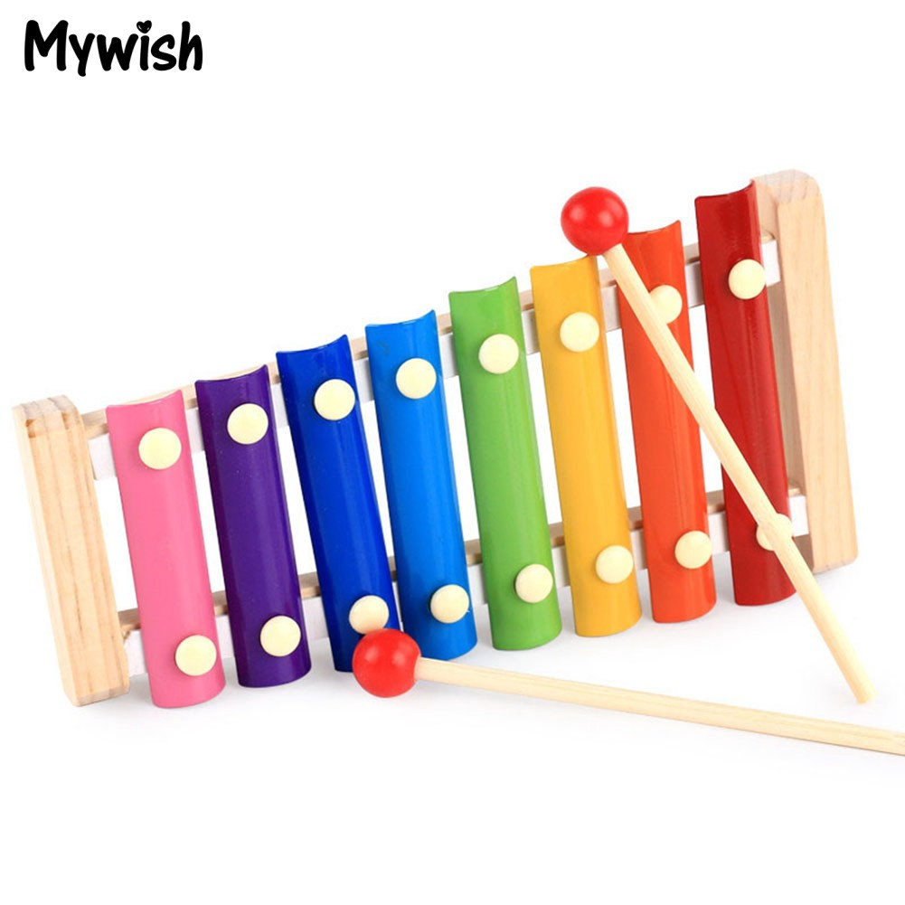 kid wooden 8 notes musical teaching toys hand knock