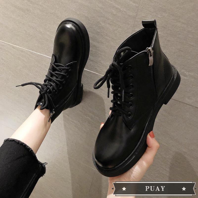 &2019 new autumn black breathable Martin boots female British wind students Korean version of the wild small leather boo