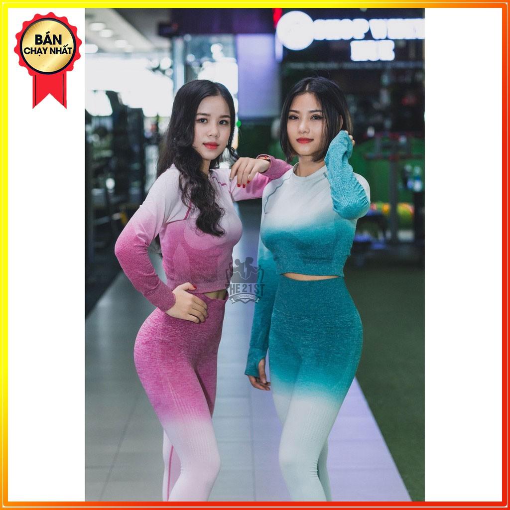 Quần áo tập gym-yoga chất thun co giãn 4 chiều [ SET OMBRE Crop MỚI ]