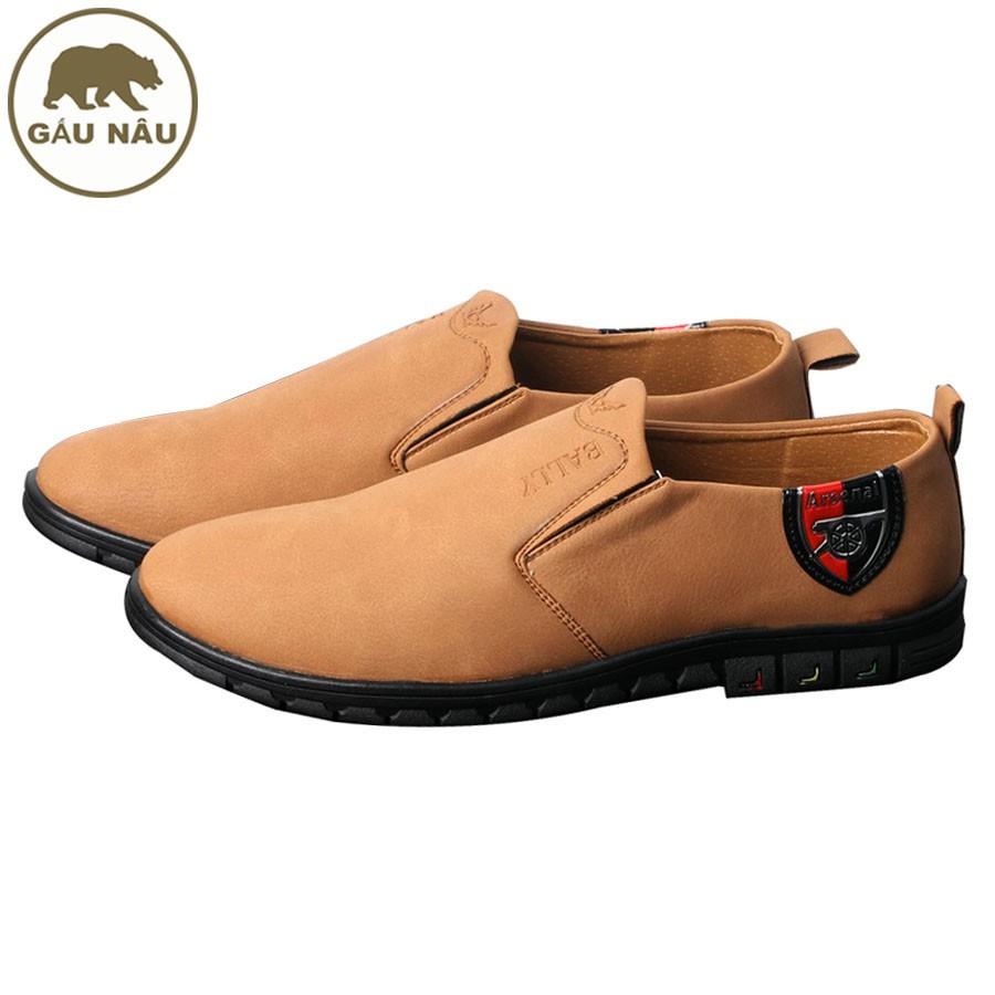 Giày lười nam màu da bò chất lượng cao GN429 Gấu Nâu