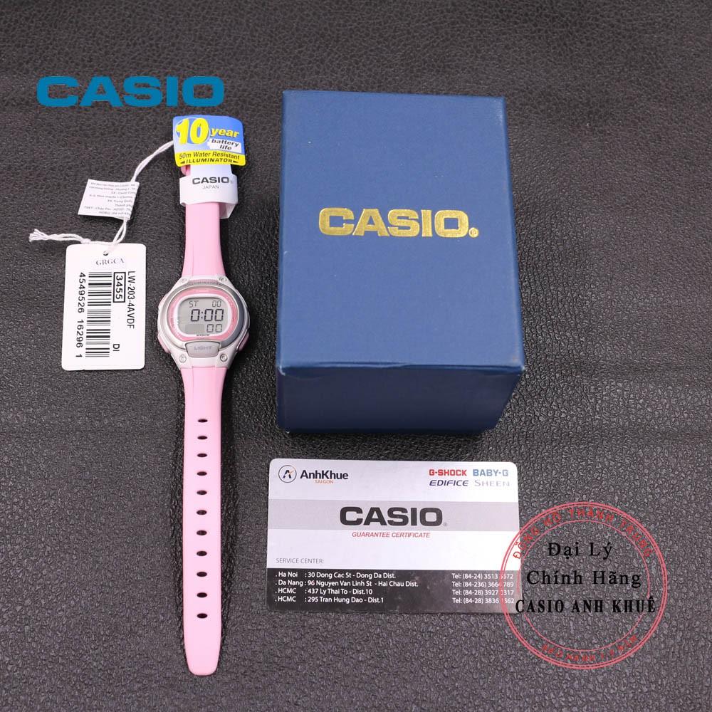 Đồng Hồ Nữ Casio LW-203-4AVDF Dây Nhựa Pin 10 Năm