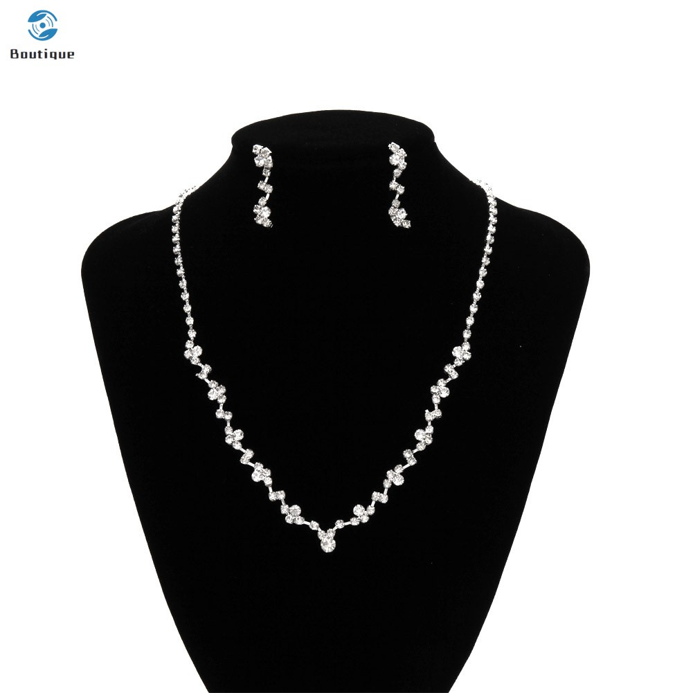 Simple  Women Necklace Earrings Set Inlay Rhinestone Wedding