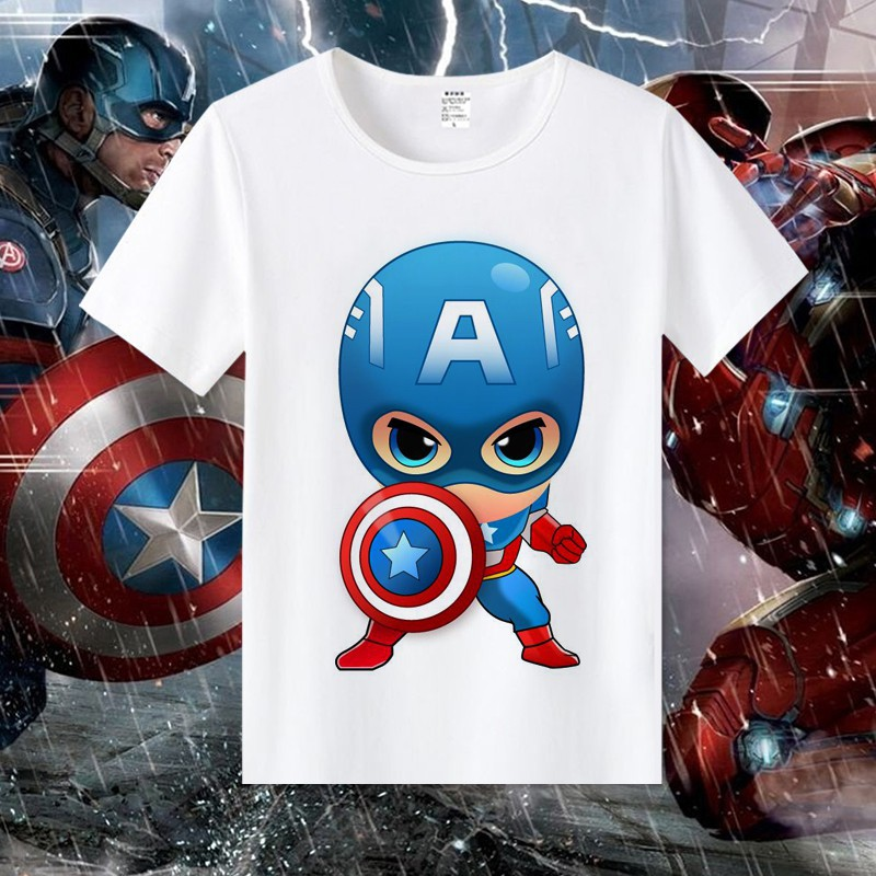 Avengers T-shirt men and women short-sleeved t-shirt anime surrounding clothes super hero Q version of the US captain