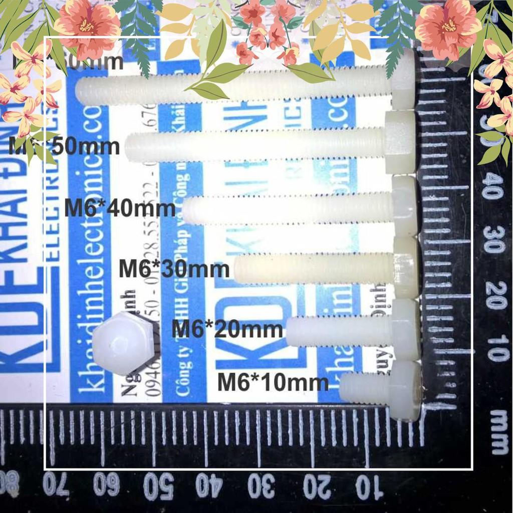 [HOT] Bulong Nhựa M6, đầu lục giác các kích thước 10/16/20/25/30/35/40/45/50/60mm kde0263 HOT.