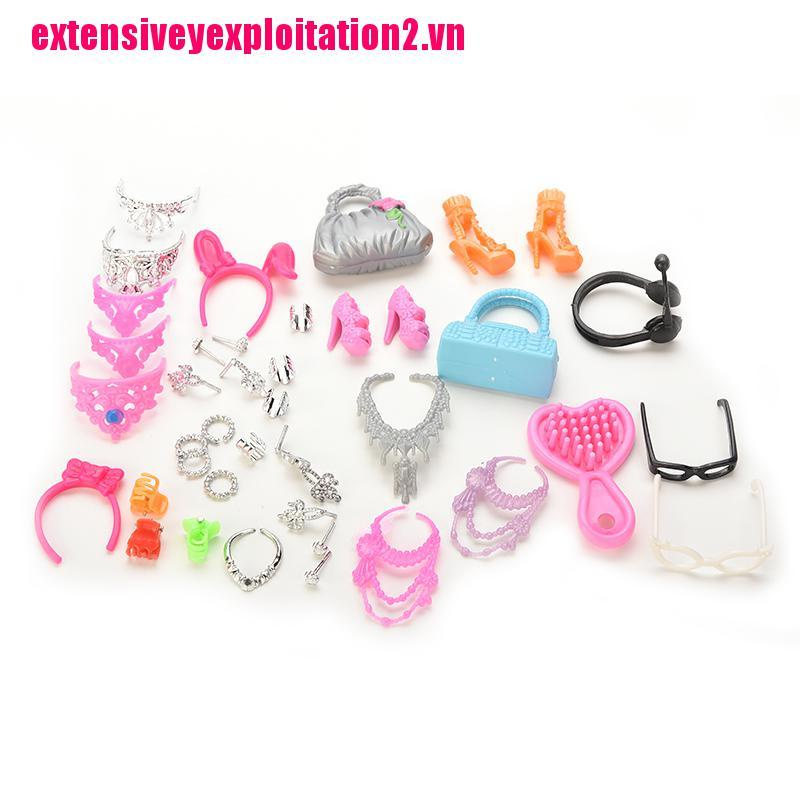 {extensivey2.vn}Doll Accessories Bags Necklace Combs Shoes Earings for Barbie Doll Kids Gift